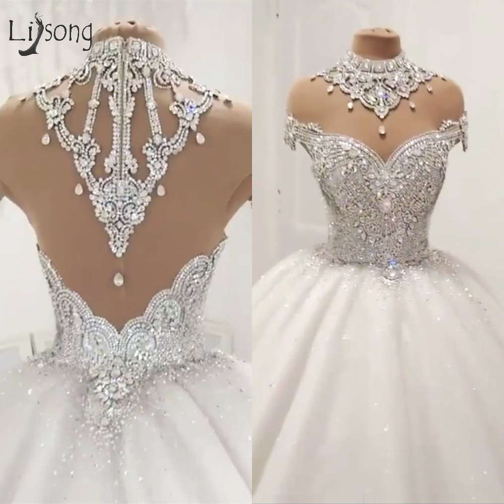 us $279.3 30% off|luxury dubai empire wedding dresses 2019 crystal beaded  puffy bridal gowns vintage see thru back wedding gowns robe de mariee-in