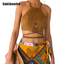 Sukibandra Summer Halter font b Cami b font Bustier Faux Leather Suede Lace Up Beach Vintage