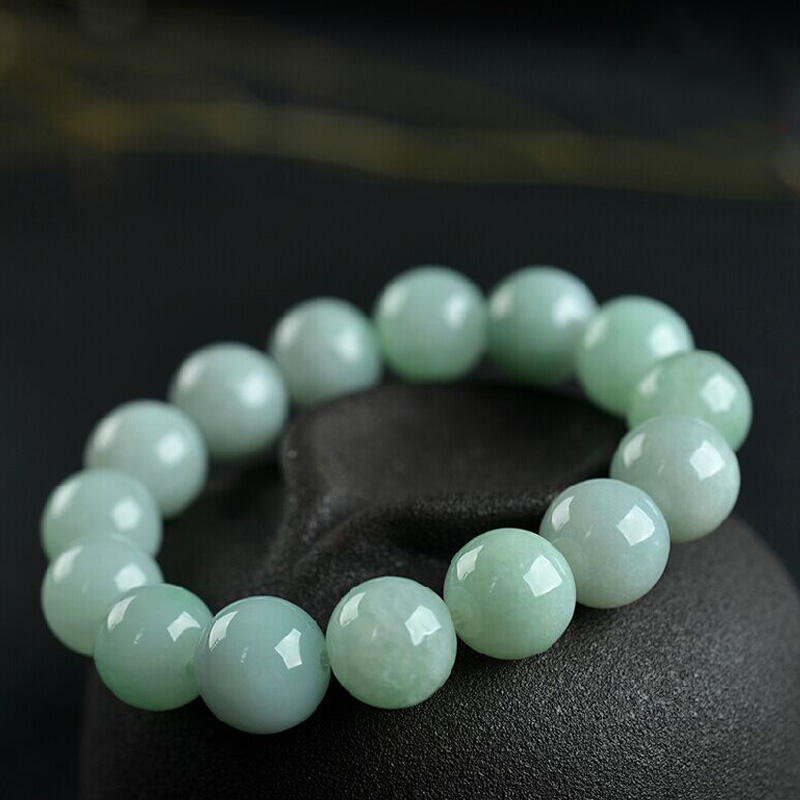 Natural A level ice kind yu stone round beads bracelet male and female couple models 13mm round beads feicui bracelet jewelry
