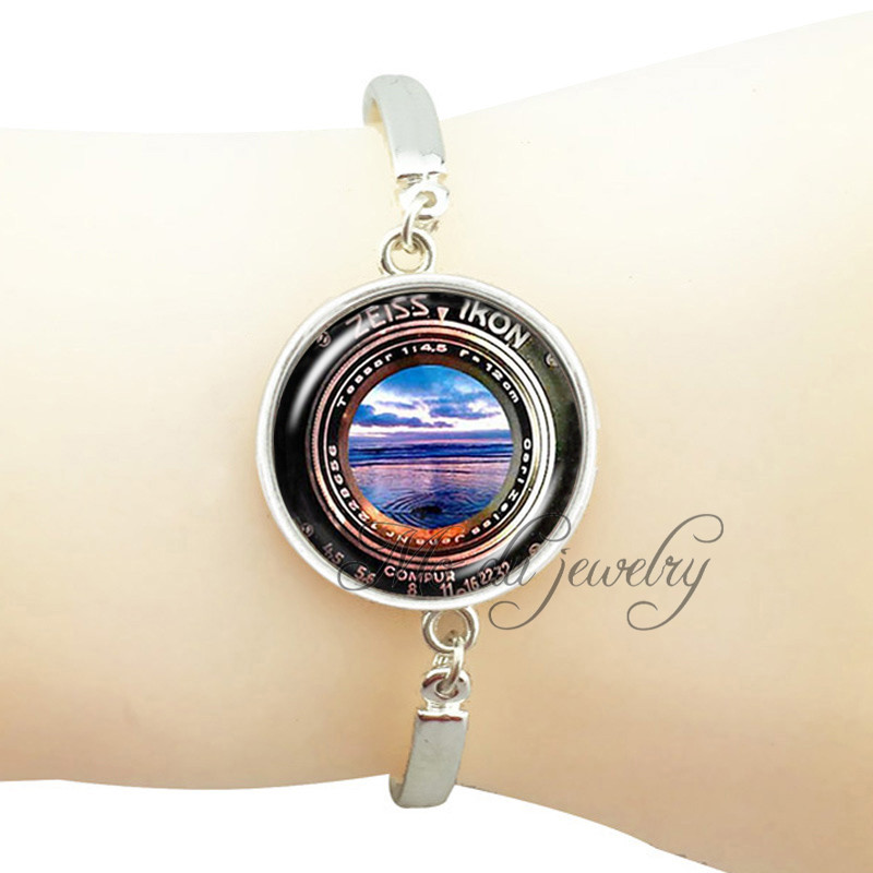 Handmade Camera Bracelet Silver Bronze Plated Lens Charm Photography Sunset Beach Picture Gl Dome Bangle In Chain Link Bracelets From