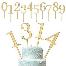 1 шт. золотые цифры 0 1 2 3 4 5 6 7 8 9 украшения для торта на день рождения акриловые золотые Детские вечерние украшения на день рождения