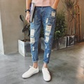 Jeans Hombres Parcheado Ripped Jeans Hombres Roca Patchwork Marcas de Diseño De Alta Calidad Pantalones de Mezclilla de Los Hombres Pantalones Vaqueros de Hip Hop Pantalones Vaqueros Petirrojos