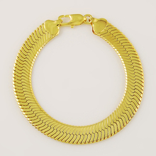 Fashion 24K Gold Color Mens 10mm Chain Bracelets 20cm Long Cute Bracelet Women & Men Jewelry Wholesale Price