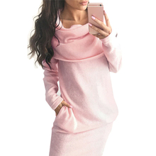 Female Scarf Collar Casual Long Sleeve Dress Fashion Women Sweatshirt 2017 Autumn Winter Bodycon Sweater Dresses Pink/Gray/Black