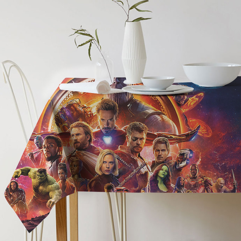 New Super Hero Battle of Infinity Printed Patterns Table Cloth Cotton Linen Dining Decorated Avengers Alliance tablecloth