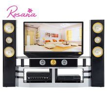 Rosana Mini Home Theater Hi-Fi 1:6 TV Set for Barbie Dolls House Furniture Combo Cabinet Outfit for Monster High Doll Accessorie