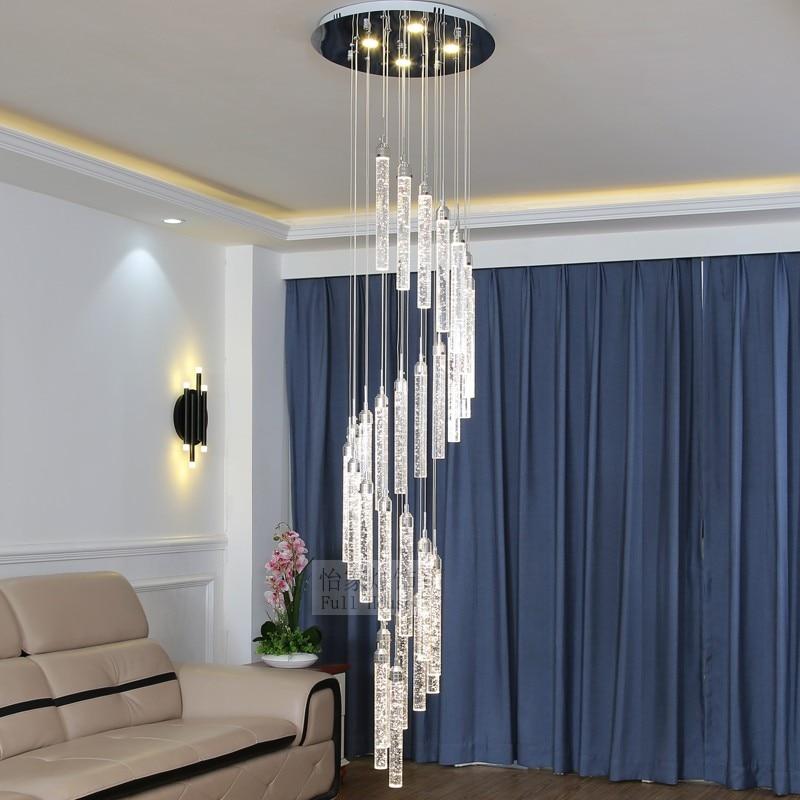 High Ceiling Crystal Chandelier Led Hanging Lamps For Living Room Hotel Spiral Staircase Chandelier Led Lustre Light Bar Fixture
