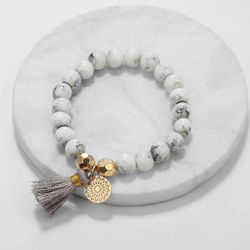30 รูปแบบผสมเต่าหัวใจ Pearl Wave LOVE คริสตัลหินอ่อนสร้อยข้อมือผู้หญิง Boho Tassel สร้อยข้อมือเครื่องประดับขายส่ง