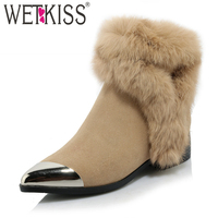 WETKISS Stylish Warm Fur Winter Boots Designer Metal Pointed Toe Ankle Boots Easy Walking Square Heel