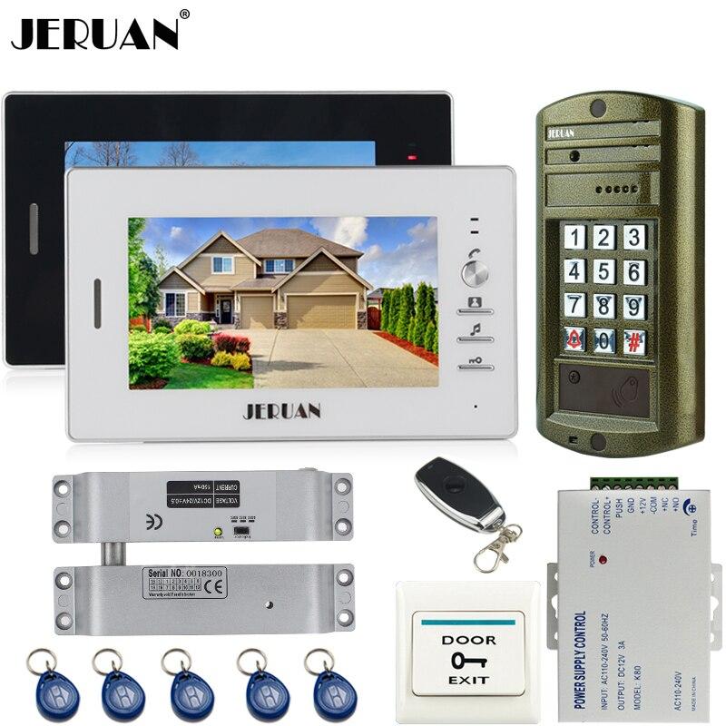 Home 7`` TFT Color Video Door Phone Intercom System Kit 2 Monitor + Metal Waterproof Access Password Keypad HD IR Mini Camera