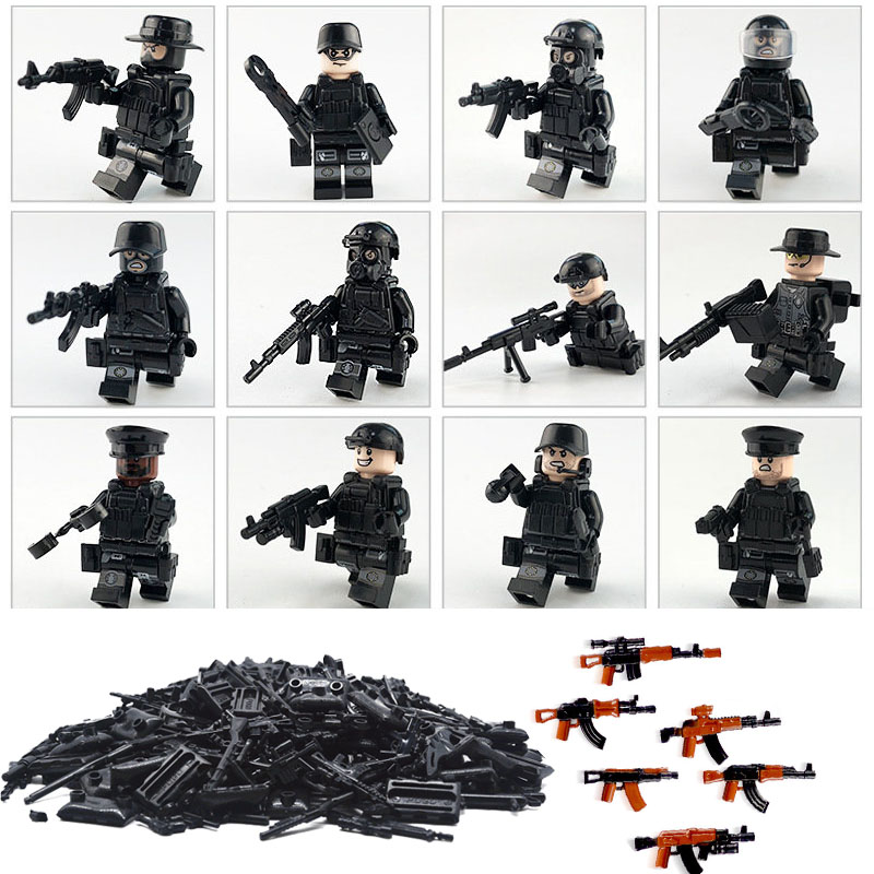Military Swat Police Gun Weapons Pack Army soldiers building blocks MOC Arms City LegoINGOD Series WW2