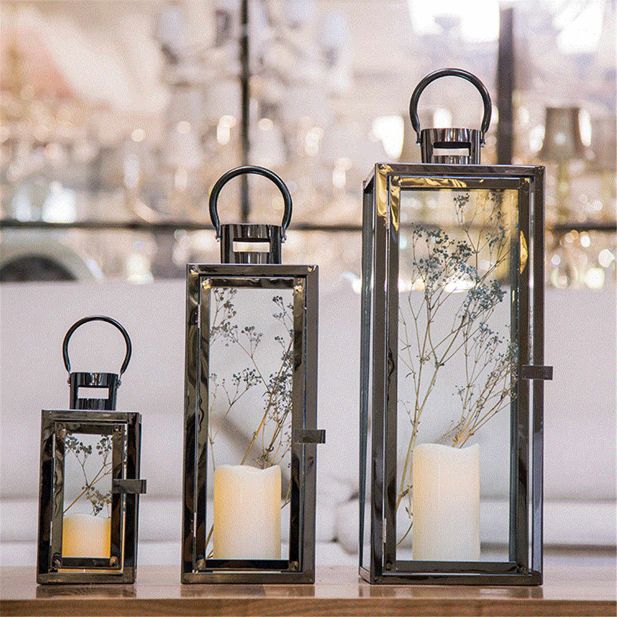 7pcs Flameless Candle Lanterns Stainless Steel Decorative Candle Lantern  for Indoor Home Decoration (Black)
