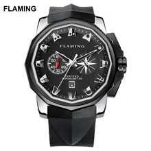 FLAMING Hero Series Fashion 4 Models ADMIRAL'S CUP Miyota Chronograph Watches Men Sliver Wristwatches Gifts