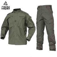 2018 Army Green Outdoor Camouflage Uniform Men Clothes Tactical Military Uniform Combat Hunting Men's Jacket+Pants Hunt Clothes