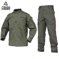 2018 Army Green Outdoor Camouflage Uniform Men Clothes Tactical Military Uniform Combat Hunting Men's Jacket+Pants Hunt Clothes
