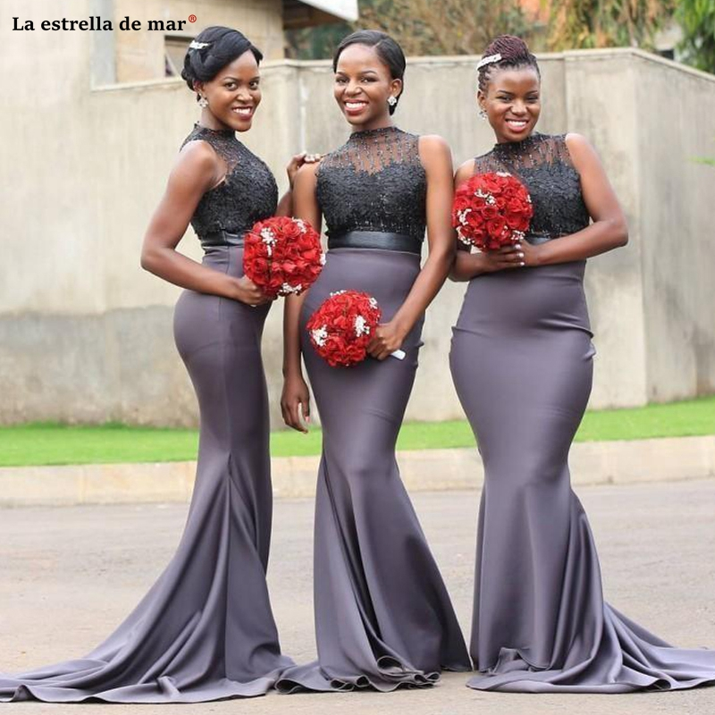 Vestido Madrinha New High Neck Sexy African Lace Bridesmaid Dress Long Mermaid Elastic Satin Applique Black Girls Cheap Wedding