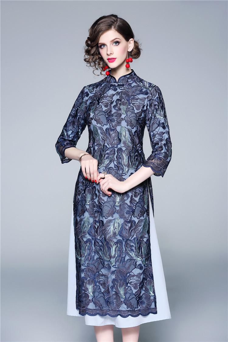2020 New Year Lace High Quality Cheongsam Ao Dai Dress For Women