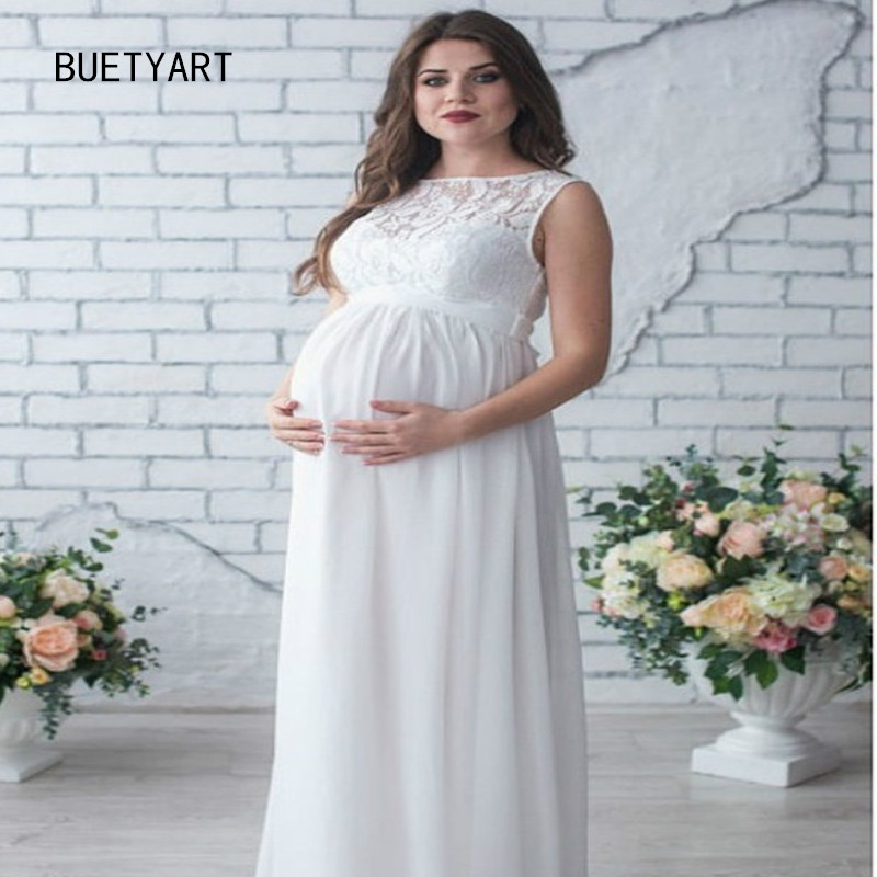 9bd4e467658a9 BUETYART Women Mesh Gown Maternity Maxi Dress Long Sleeve Sexy Nightdress  Pregnancy Party Dresses Photography Prop Clot-in Dresses from Women's  Clothing on ...
