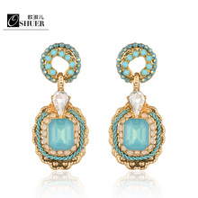 OSHUER, 2 цвета, новинка, модный бренд, ювелирное изделие, роскошные свадебные серьги-гвоздики для женщин, золотая пластина, Кристальные серьги