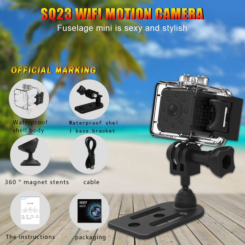 SQ23 <font><b>Wifi</b></font> <font><b>Mini</b></font> <font><b>Camera</b></font> Espia Waterproof Shell Night Vision Smart Secret HD Camcorder Motion Detection Pocket Micro Cam Sport Cam image