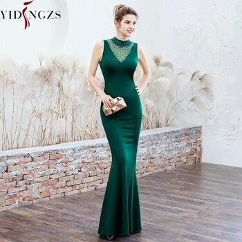 YIDINGZS Satin Evening Dress Elegant Beading Long Evening Party Dresses YD16102