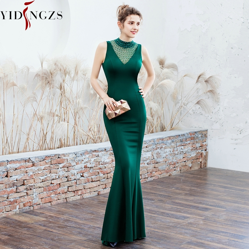 YIDINGZS Satin   Evening     Dress   Elegant Beading Long   Evening   Party   Dresses   YD16102