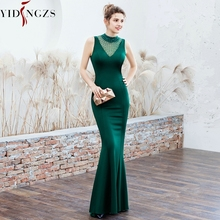 YIDINGZS robe de soirée en Satin, tenue longue et élégante, perles, robes doccasion, YD16102