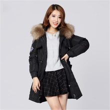 Plus Size Down 2017 Jacket Real Fur Raccoon Collor Hooded Ladies Winter Coat Women Ultra Duck EWomens Parka Puffer Coats Jackets