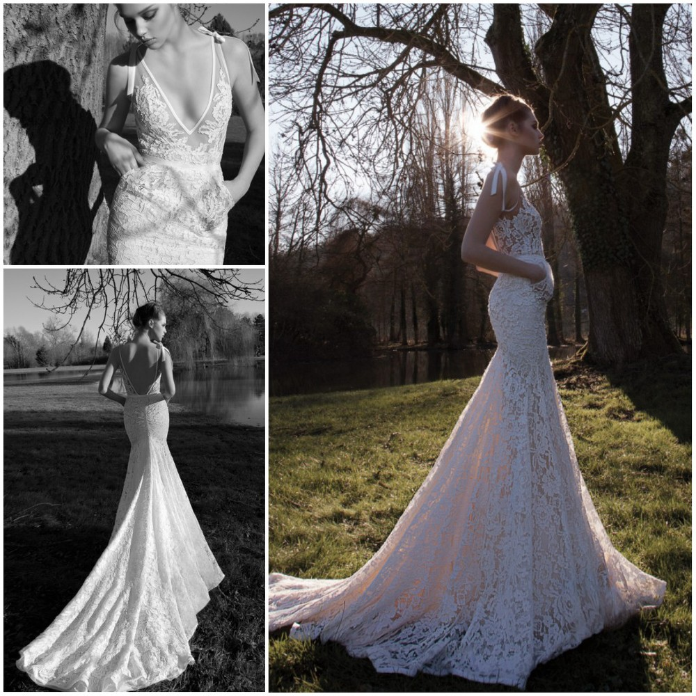 Glamourous sexy deep v neck vintage inbal dror lace bridal for Spaghetti strap backless wedding dress
