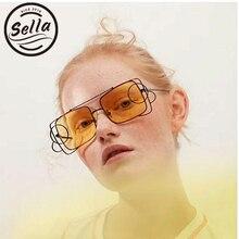 9443638c299 Sella New Unique Fashion Women Men Circle Ring Hollow Out Sunglasses  Vintage Trending Tint Clear Lens