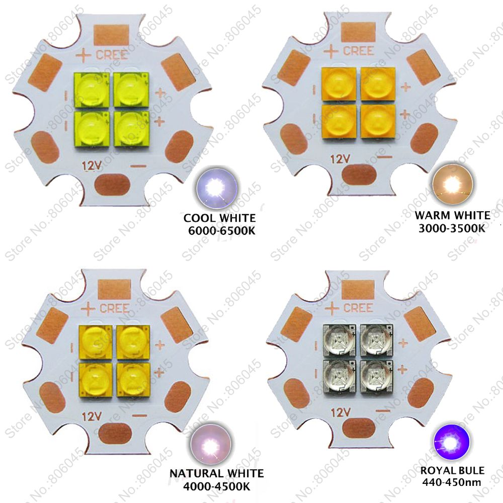 10x Cree XT-E XTE 3V 6V 12V 4Chips High Power LED Emitter Cool White 6500K Warm White 3000K Neutral White 4500K Royal Blue 450nm cree xhp70 cool white neutral white warm white high power led emitter 30w 6v or 12v for led scuba flashlight diver torch light