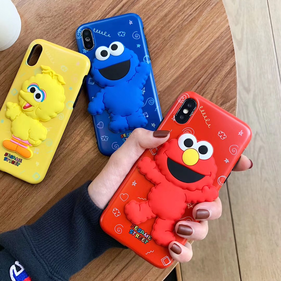 Cute Cartoon 3D Sesame Street ELMO BIG BIRD COOKIEMONSTER Phone Case For  iPhone