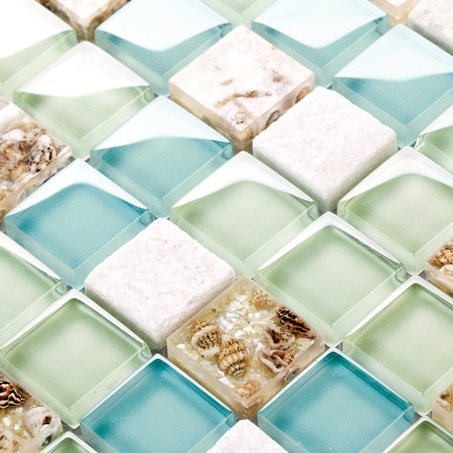 Perfect blue color crystal glass mixed sea shell mosaic HMGM1148 for  RG76