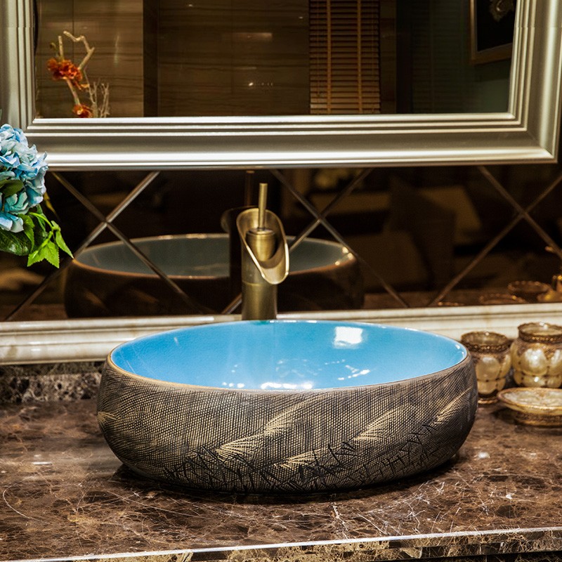 Colourful Blue and yellow glazed porcelain bathroom vanity bathroom sink bowl countertop Oval Ceramic bathroom sink wash basin
