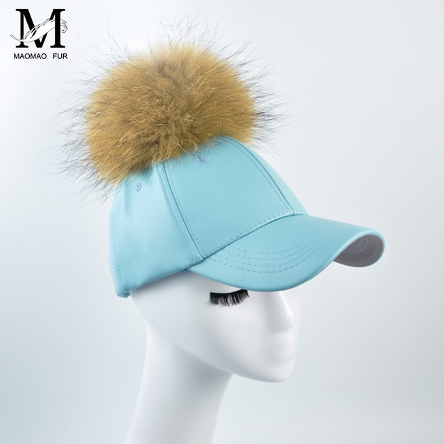 Fashion Spring Women PU Leather Cap Faux Leather Hat Summer Outdoor Hip Hop Women Hat  Real Raccoon Fur Pompoms Baseball Caps