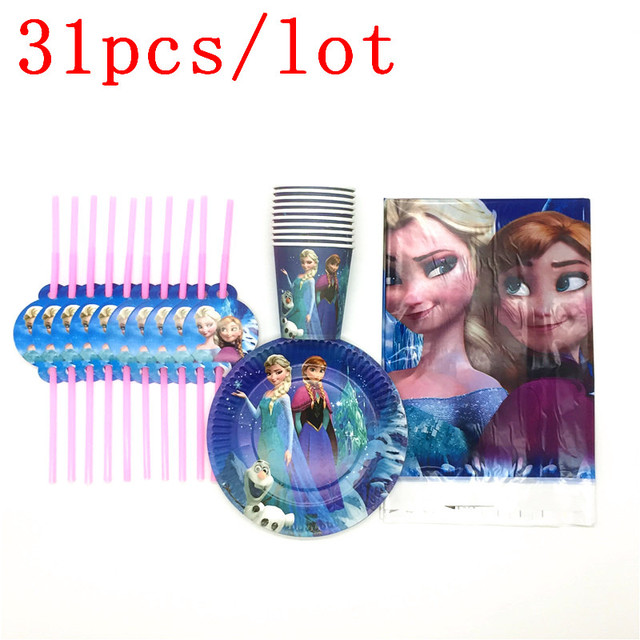 Disney Frozen Theme 31Pcs/lot Queen Elsa Cup Plate Plastic Straw Tablecover Baby Shower Girl Birthday Party Decoration Supply