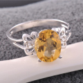 100% 2ct natural gemstone wedding ring 7*9mm natural citrine ring solid 925 silver yellow crystal ring for woman birthday gift
