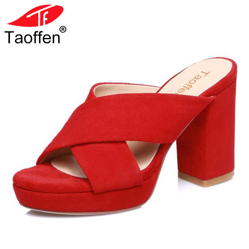 TAOFFEN Fashion Women Genuine Leather High Heel Sandals Platform Peep Toe Thick Heel Slipper Women Summer Sandals Size 34-39 taoffen women high heels sandals real leather peep toe shoes women buckle clear thick heel sandals daily footwear size 34 39