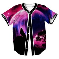 Animal Wolf Graphic 3D Print Baseball Jersey T Shirt Design Short Sleeved Button Cardigan Comfortable Hip Hop Style Tops Clothes