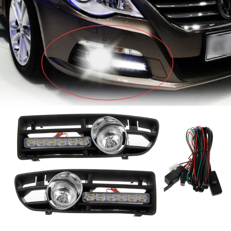 1 Pair LED DRL Running Light+high power Fog Lamp With Switch+Front Bumper Grille For VW Jetta Bora Mk4 Yellow White Lamp set fog light lamp with bulbs front bumper fog light grille cover for volkswagen vw cc 2009 2012
