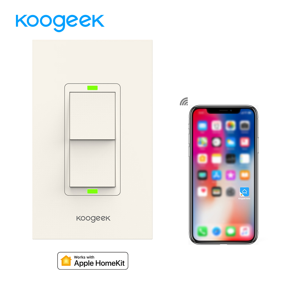 Koogeek Smart Home WiFi Light Switch Wireless Remote Control Light Switches for Apple HomeKit Siri Wall Switch on 2.4GHz Network