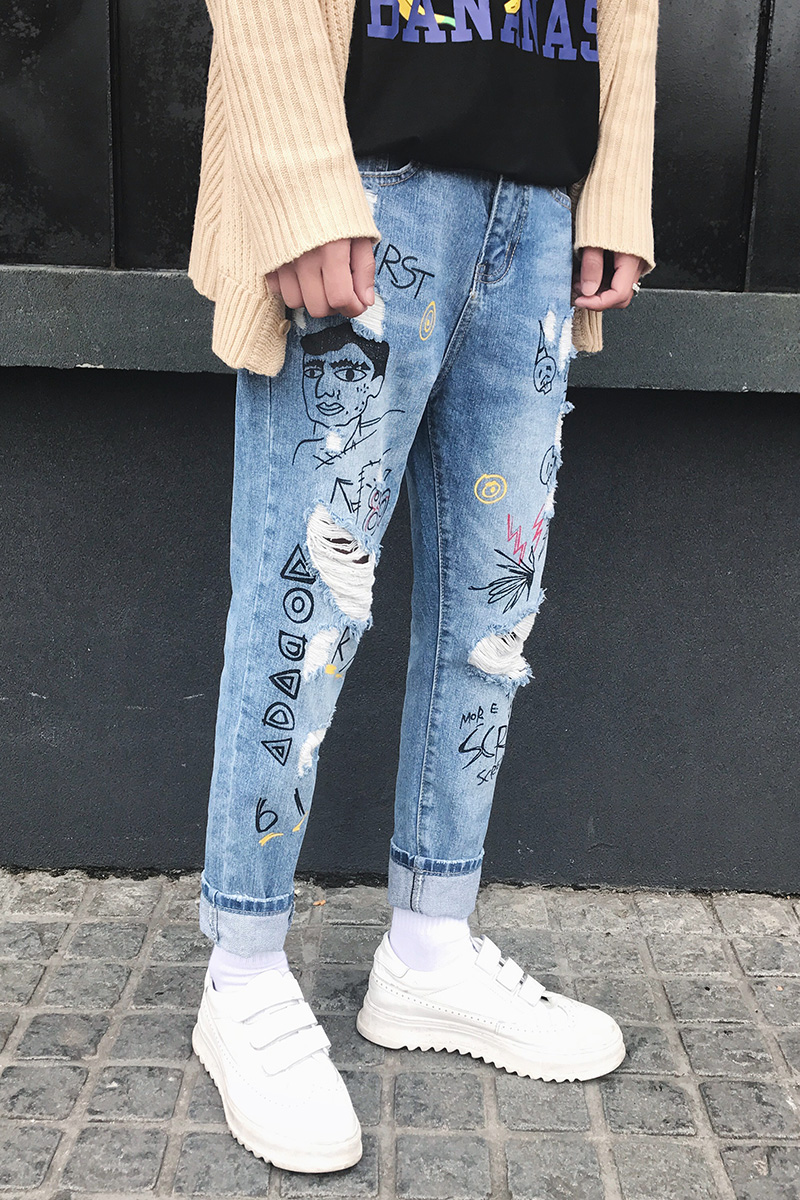 28-34!!! 2018 The summer wind ripped jeans Teenagers nine points students scrape bad trend cultivate ones morality pants