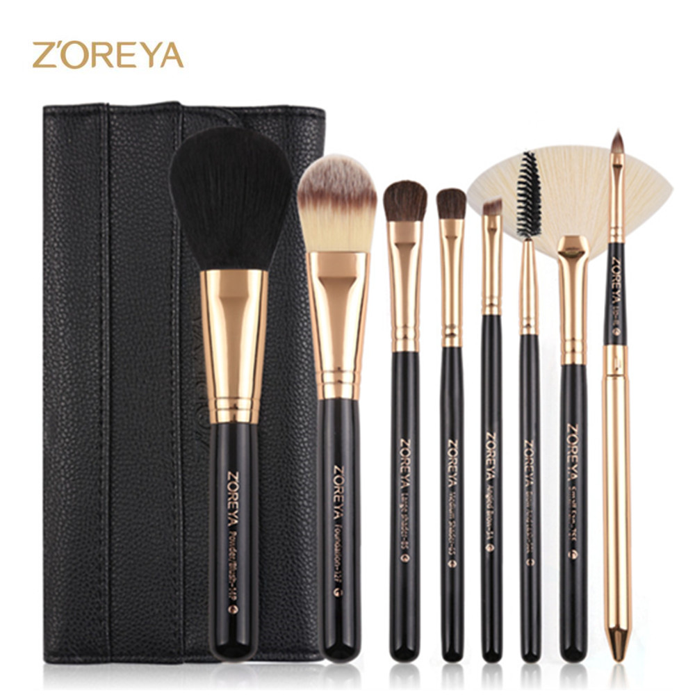 ZOREYA 8pcs Makeup Brush Set Professional Powder Blush Fan Concealer Eyeshadow Make Up Brushes For Beauty Women Cosmetic Tool saiantth makeup tool set kit combination 15 color concealer palette toothbrush makeup brush water drops sponge puff cosmetic