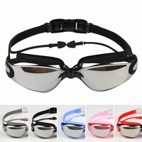 2016 Men Women Anti Fog UV Eyewear Protection Surfing Swimming Goggles Soft Earplugs Waterproof Swim Glasses