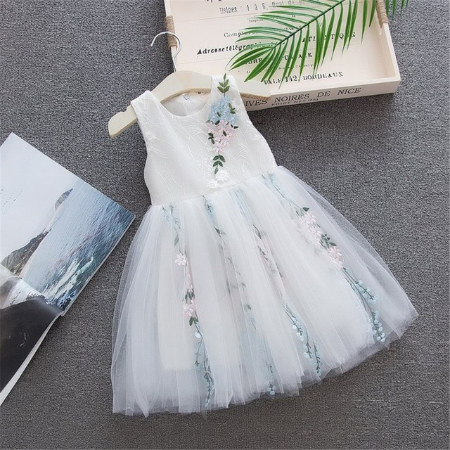 2019 Girls Summer Dress Toddler Baby kids dresses for girl Sleeveless Solid Tulle Skirt Embroidery Floral Party Princess Dresses