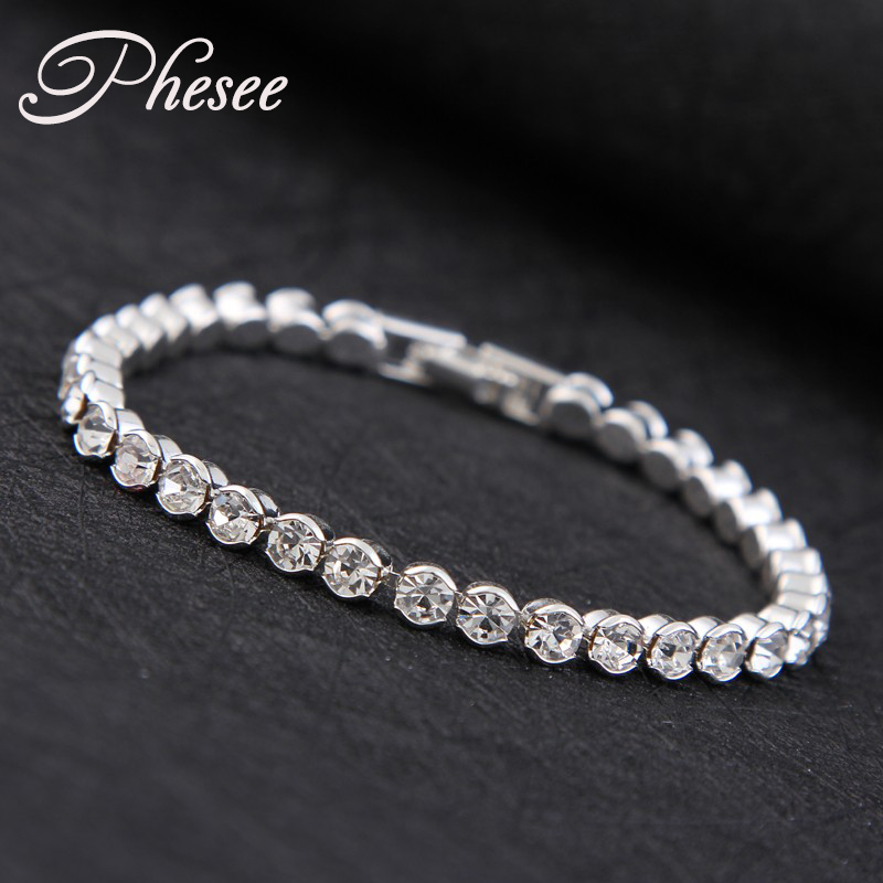 New Design High quality Silver Plated Fashion charm Shiny Austria Crystal B..
