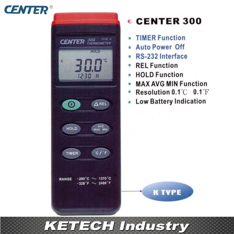Digital Thermometer K-type with Auto Power Off Functions CENTER300 center 307 temperature thermometer with digital mini compact size