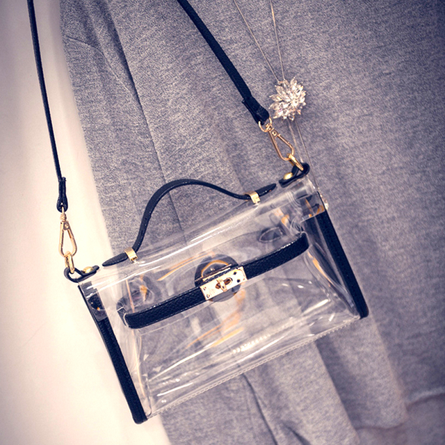 New Fashion PVC Transparent Bag Clear Platinum Package Jelly Beach Bags Small Tote Shoulder Bag Crossbody Bags For Women