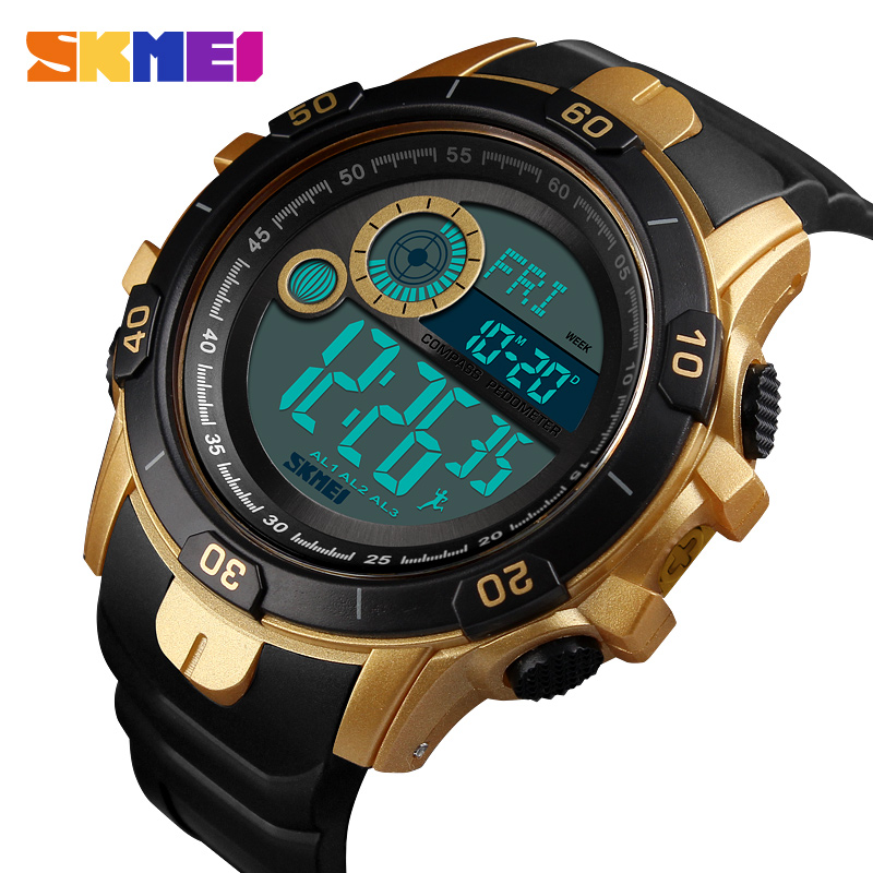Skmei Fashion Smart Running Watch Compass Fitness Tracker Exercise Wristwatch Women Men Alorie Calculation Thermometer Sports Pure Whiteness Digital Watches