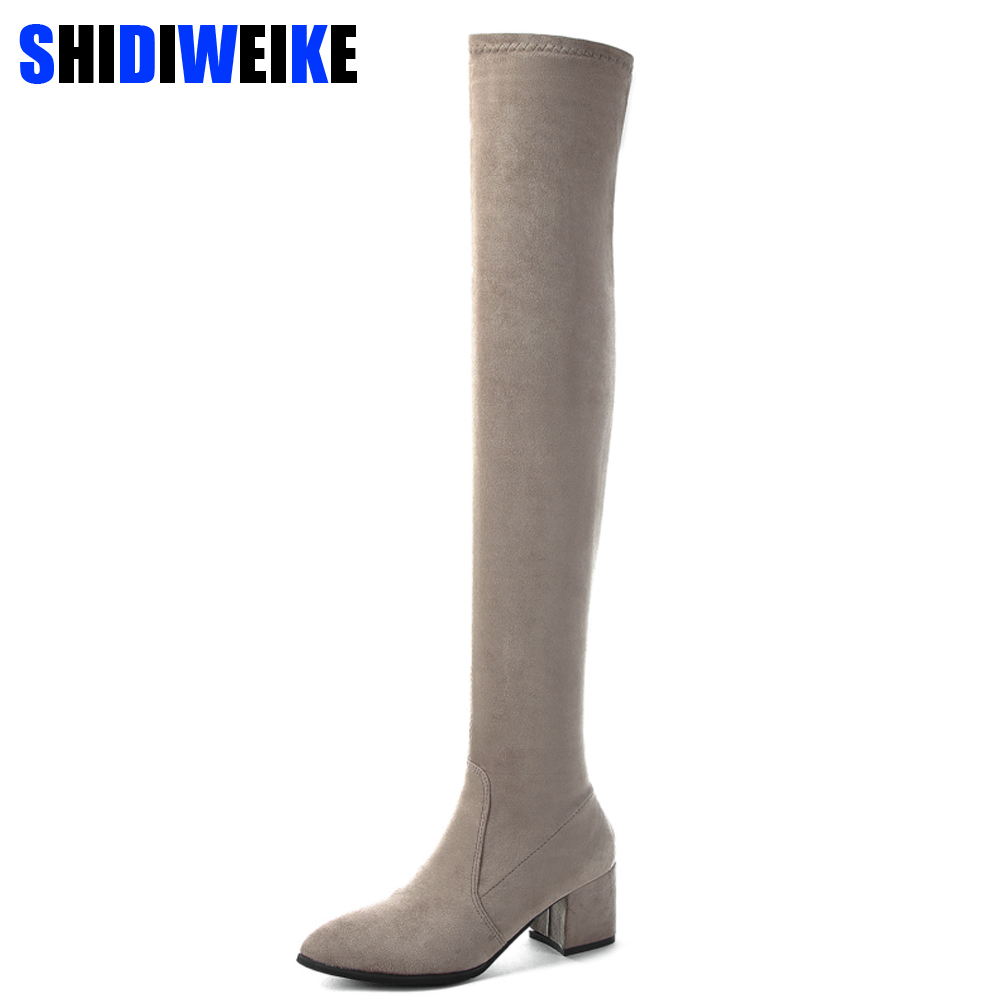 2019 Slim Boots Sexy Over The Knee High Suede Women Boots Women's Fashion Winter Thigh High Boots Shoes Woman n284